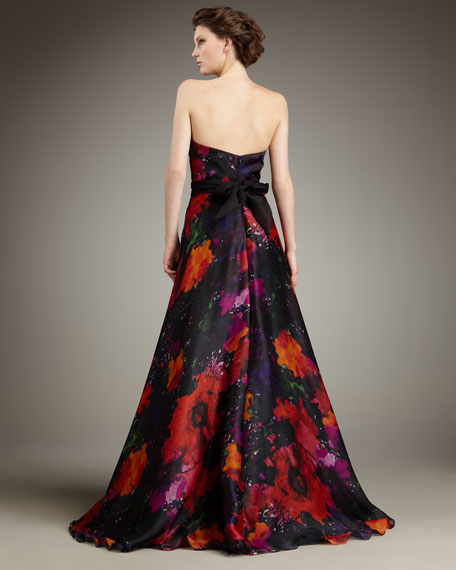 Printed Silk Ball Gown