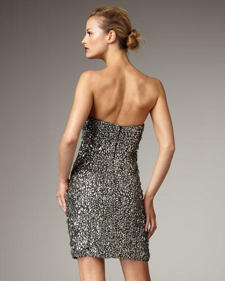 Mirror Beaded Strapless Dress