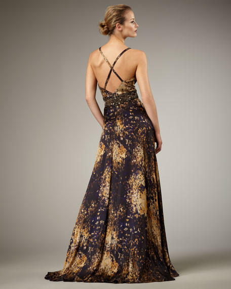 Cross-Back Beaded-Waist Gown