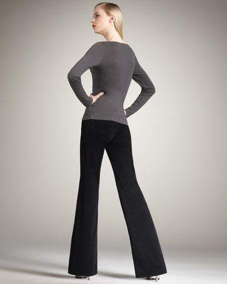 Bentley Wide-Leg Corduroy Jeans, Black
