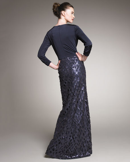 Sequin-Skirt Draped Gown