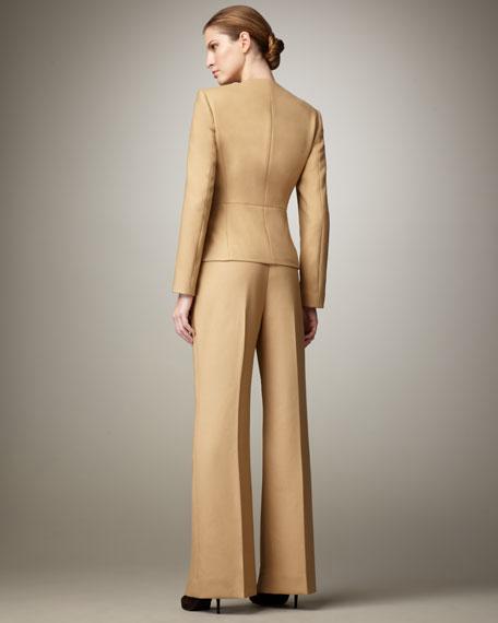 Ruffle-Front Wide-Leg Suit