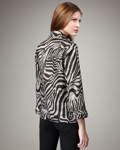 Braid-Trim Zebra-Print Jacket