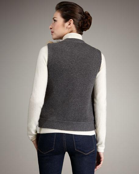 Fur-Front Cashmere Vest