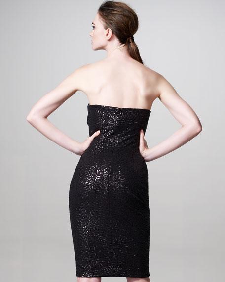 Sequined Feather-Flourish Dress