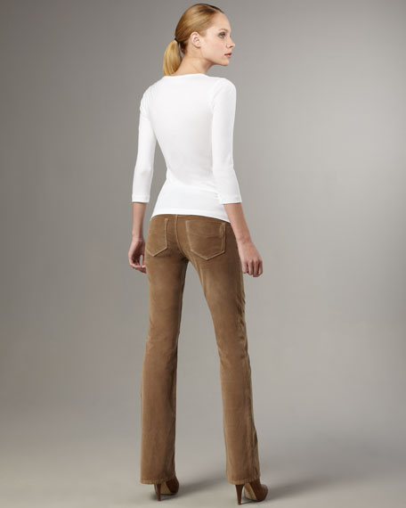 Boot-Cut Corduroy Pants, Tan