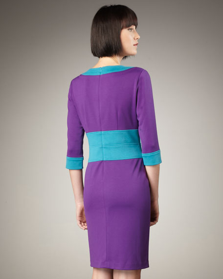 Three-Quarter Sleeve Colorblock Dress