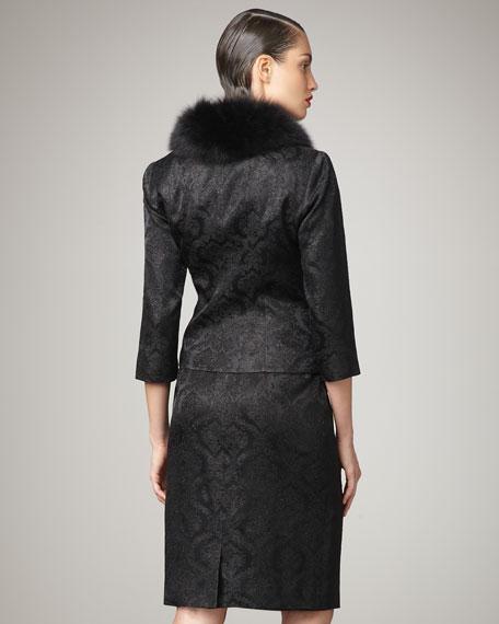 Fur-Collar Jacquard Suit
