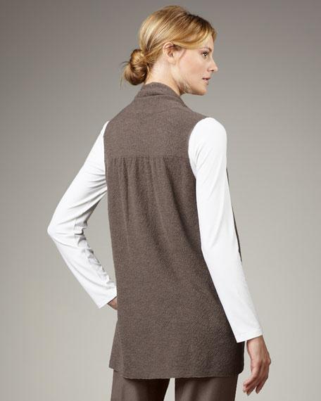 Washable-Wool Fine-Crepe Vest, Petite