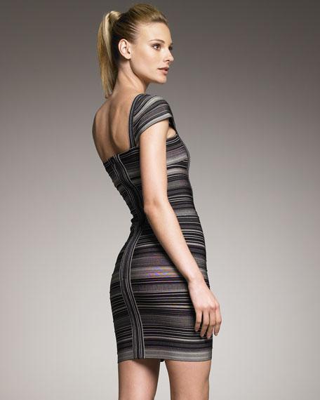 Striped Cap-Sleeve Bandage Dress