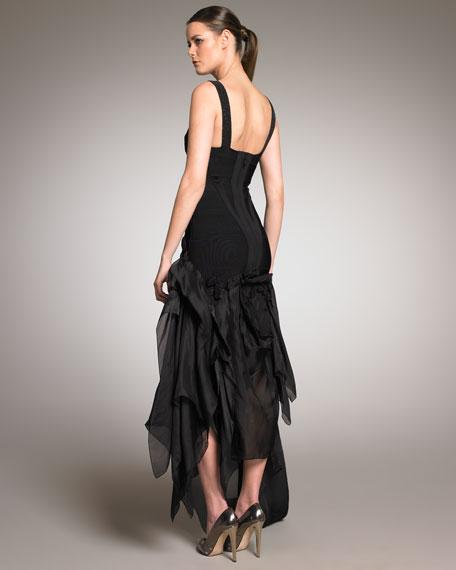Taffeta-Bottom Bandage Gown