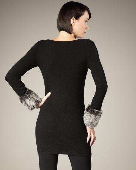 Faux-Fur-Cuff Cashmere Sweater