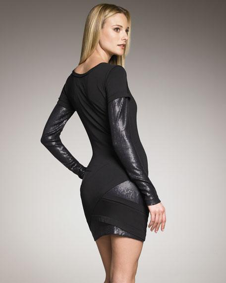 Sequin-Inset Long-Sleeve Dress