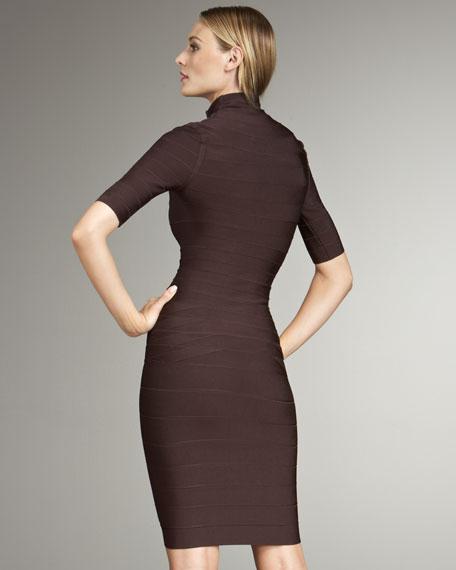 Front-Zip Turtleneck Bandage Dress