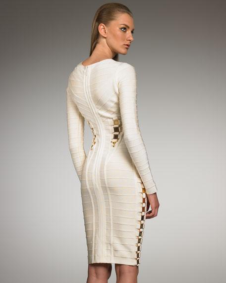 Accented Long-Sleeve Bandage Dress