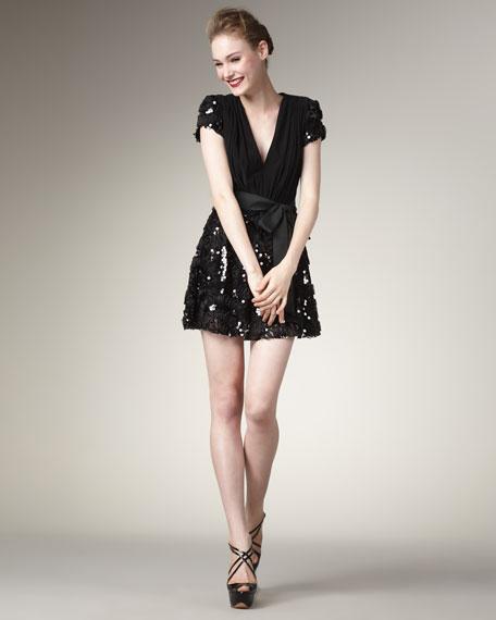 Sequin-Skirt V-Neck Dress