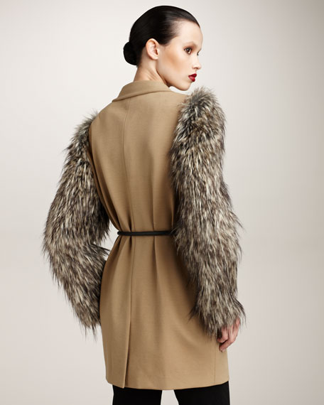 Coat with Faux-Fur Sleeves
