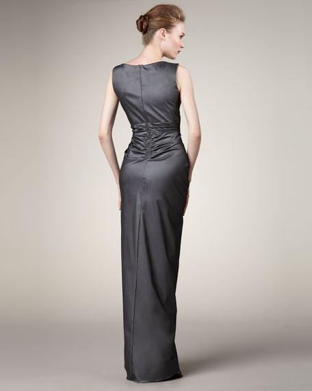 Jewel-Neck Draped Gown