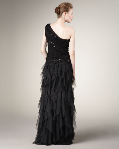 Sequin & Tulle One-Shoulder Gown