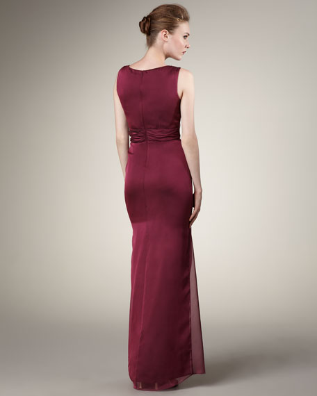 Jewel-Waist Gown, Merlot