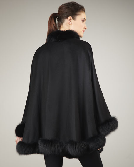 Fur-Trim Cashmere Cape, Black