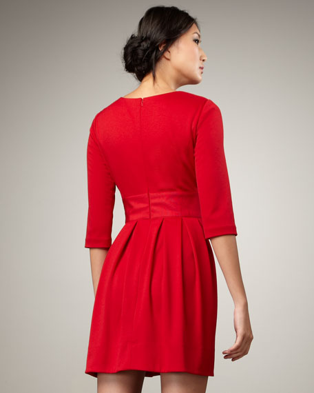 High-Neck Pleated Dress