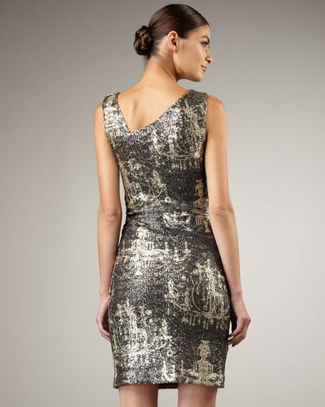 Metallic Chandelier-Print Dress