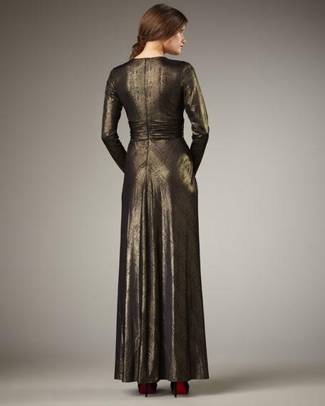 V-Neck Metallic Gown, Women's