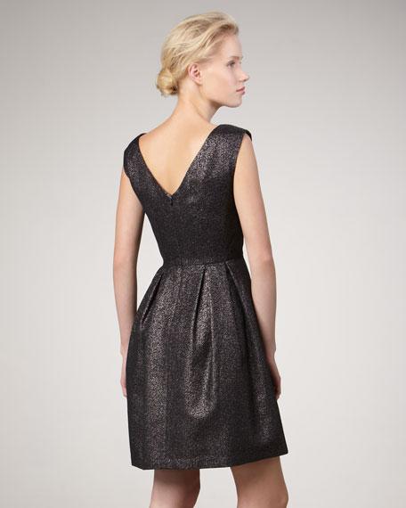 Metallic Cap-Sleeve Dress