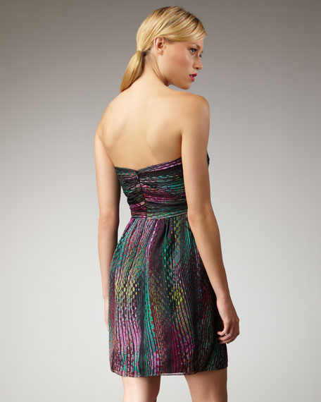 Dot-Print Silk Dress