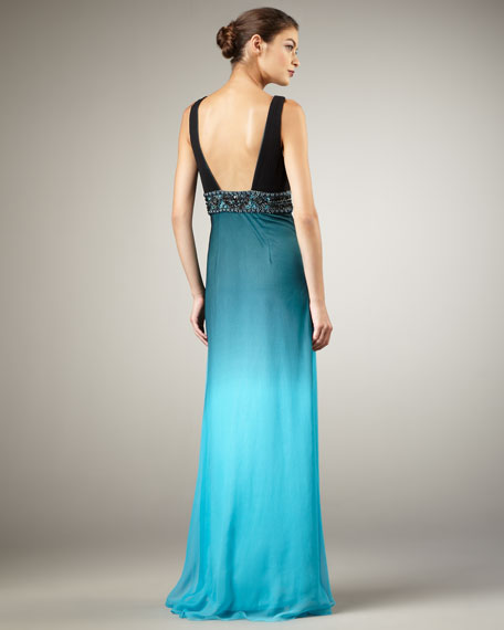 V-Neck Ombre Gown