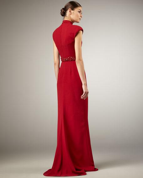 High-Neck Beaded-Waist Gown