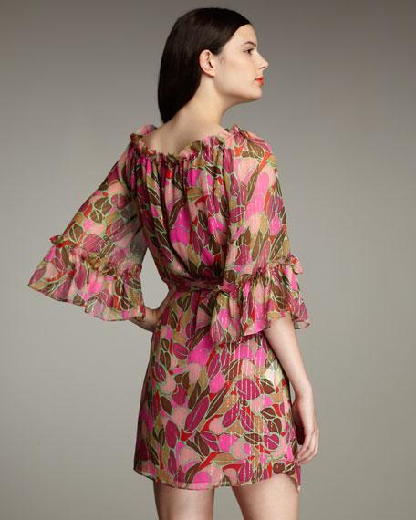 Leaf-Print Gypsy Dress