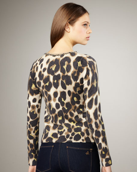 Beaded Leopard-Print Cardigan