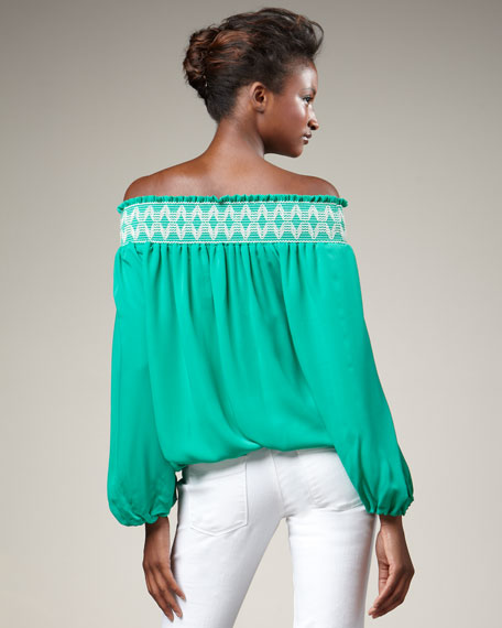 Embroidered Blouson Top