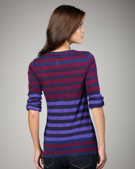 Striped Tab-Sleeve Henley
