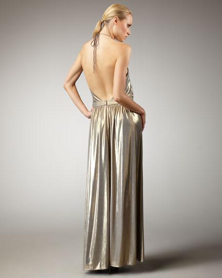 Metallic Jersey Halter Gown