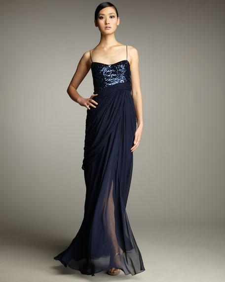 Sequin Bodice Drape Gown