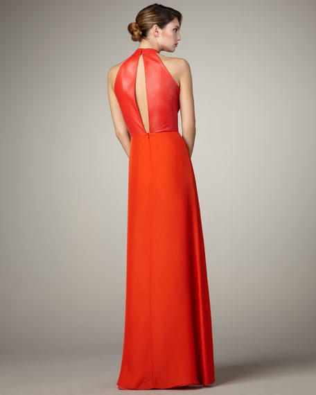 Leather-Trim Cut-In Gown