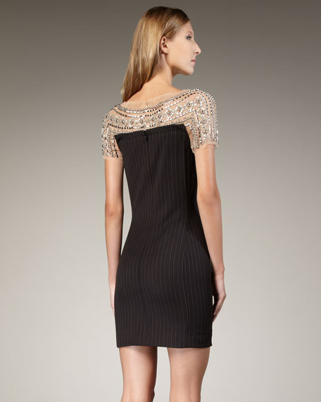 Illusion-Top Pinstripe Dress
