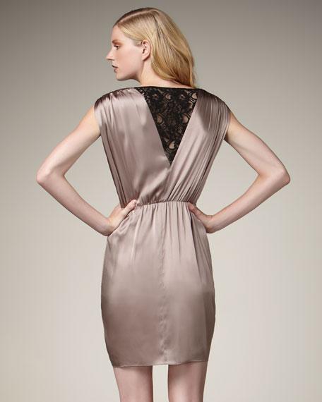 Lace-Back Silk Dress