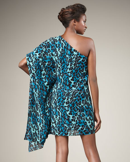 Hopper One-Sleeve Leopard-Print Dress