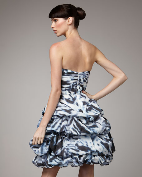 Tufted-Skirt Cocktail Dress