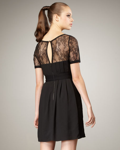 Button-Front Lace-Yoke Dress, Women's