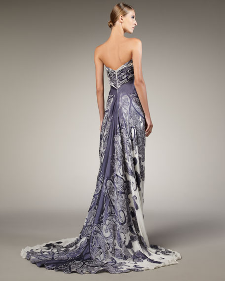 Strapless Paisley Jacquard Gown