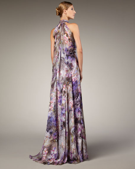 Halter-Neck Printed Gown