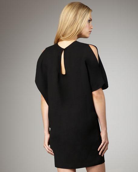 Cold-Shoulder Beaded-Neck Dress