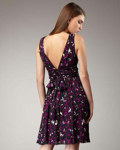 Hibiscus-Print Dress