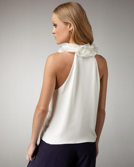 Lace-Detail Silk Blouse
