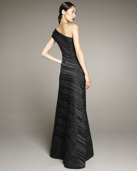 One-Shoulder Pleat Gown
